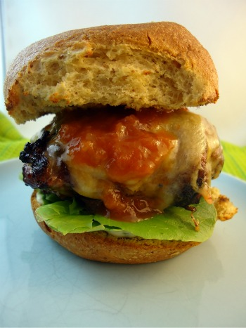 Gluten Free Burger with Bacon, Tangy Rhubarb BBQ Sauce & Jalapeno Cheese