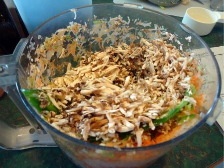 onions, carrots, celery, mushrooms, jalapeno