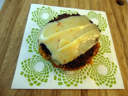 gluten free vegetarian quinoa burger with monterey jack cheese