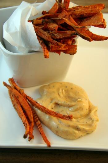 Gluten-Free Sweet Potato Fries with Spicy Aioli