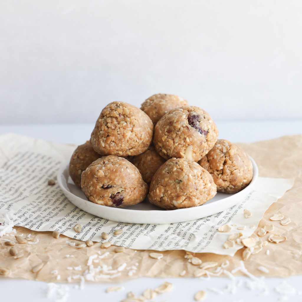 Gluten-free no bake peanut butter balls that are delicious and an easy snack that even kids can make.