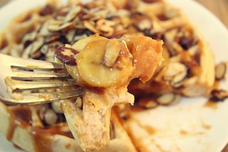 Gluten Free Salted Caramel, Banana & Toasted Almond Waffles