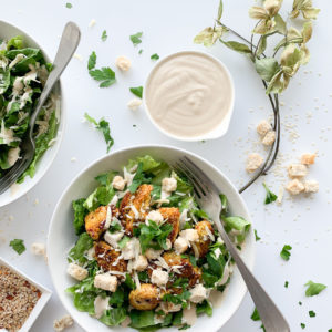 This homemade spicy caesar dressing is creamy, garlicky and spicy.