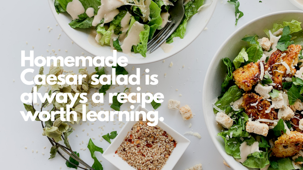 This homemade gluten-free spicy Chicken Caesar salad is packed with flavour, spice and crunch.