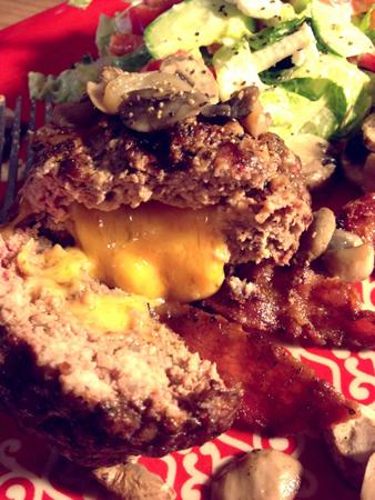 Cheddar Cheese Stuffed Burger
