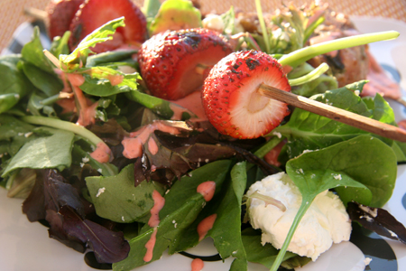 Roasted Strawberry Goat Cheese Salad