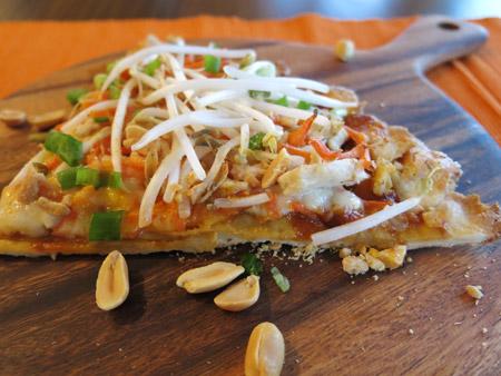 gluten-free thai chicken pizza
