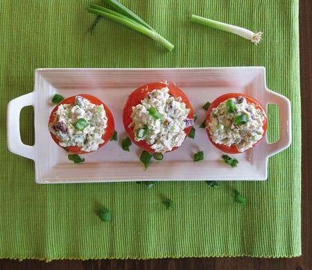 gluten free spicy chicken salad tomato bowls