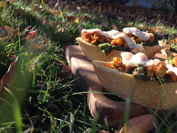 gluten-free pumpkin sausage kale pesto crostini recipe