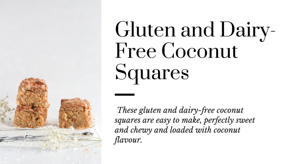 These gluten and dairy-free coconut squares are easy to make, perfectly sweet and chewy and loaded with a ton of coconut flavour.