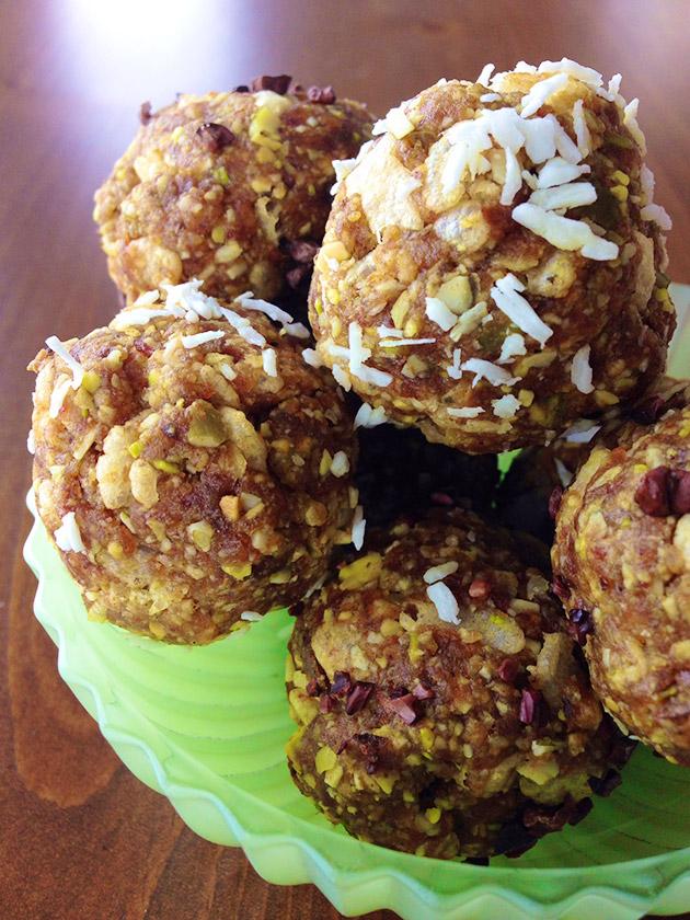 gluten free date coconut pistachio balls