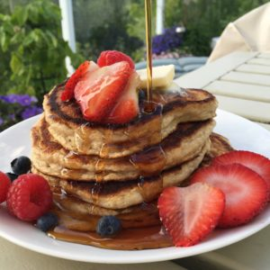These gluten free and dairy free chia pancakes are great for breakfast or brunch.