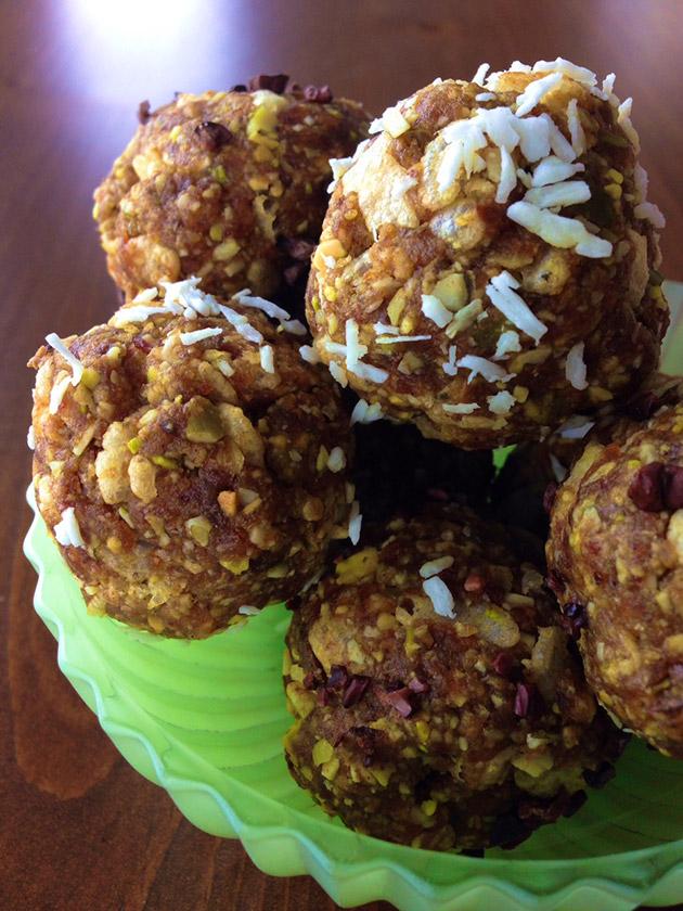 gluten free date coconut pistachio balls recipe