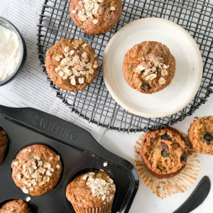 These gluten and dairy-free carrot apple bran muffins are perfect for breakfast. Add a dollop of cream cheese icing and you have a healthy carrot muffin for dessert.