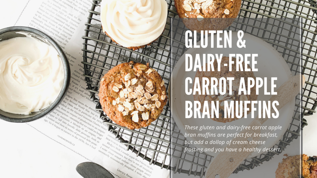 These gluten and dairy-free carrot apple bran muffins are perfect for breakfast.