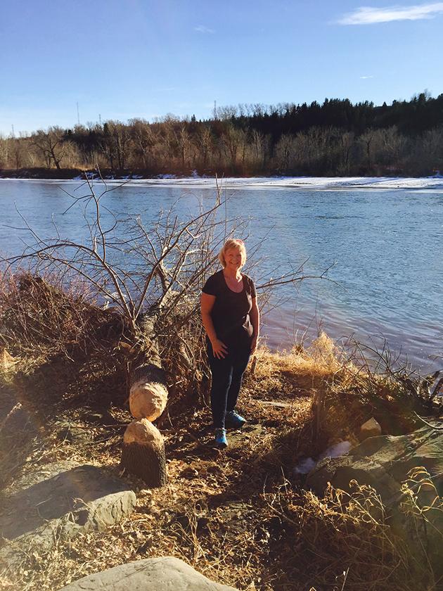 wheat free mom walking on river