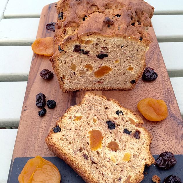 gluten free dried fruit loaf cake recipe