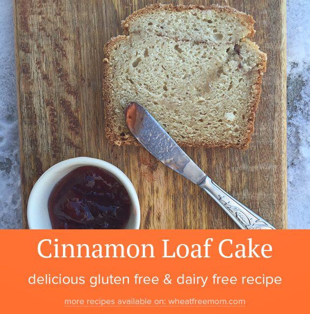 gluten free dairy free cinnamon loaf cake recipe