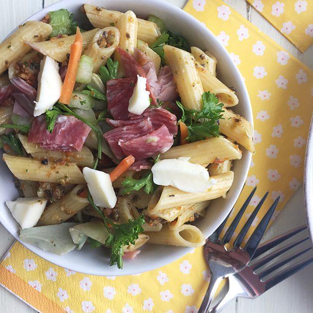gluten free muffuletta pasta salad recipe