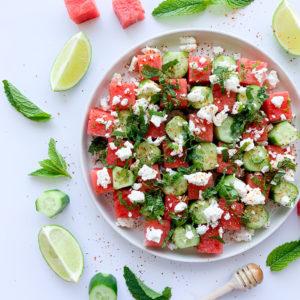 This fresh watermelon, cool cucumber, tangy feta, fresh mint and a drizzle of lime and honey is the perfect summer salad.