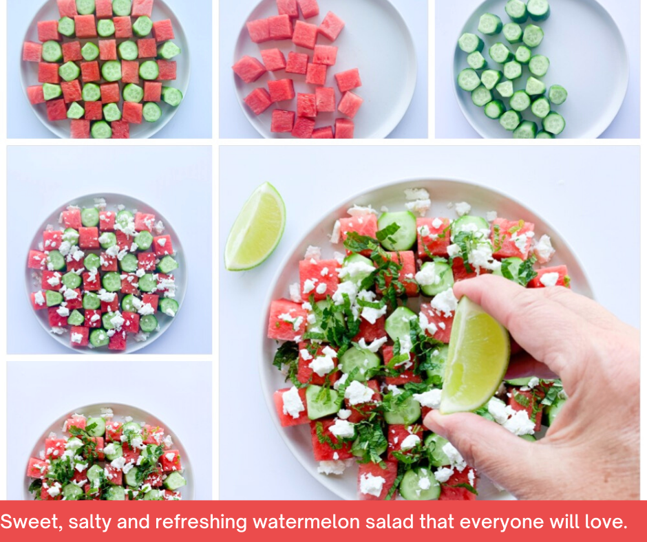 This fresh watermelon, cool cumber, tangy feta, fresh mint and a drizzle of lime and honey is the perfect summer salad.