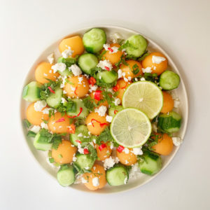 Turn ripe cantaloupe into a healthy and delicious gluten-free summer salad.