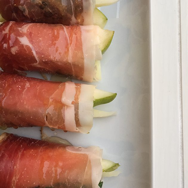 Speck Wrapped Pears with Manchego Cheese Recipe
