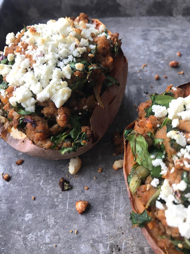 spicy chicken stuffed sweet potatoes recipe