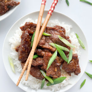 This gluten-free instant pot mongolian beef recipe is super easy to make and tastes as good as take-out.
