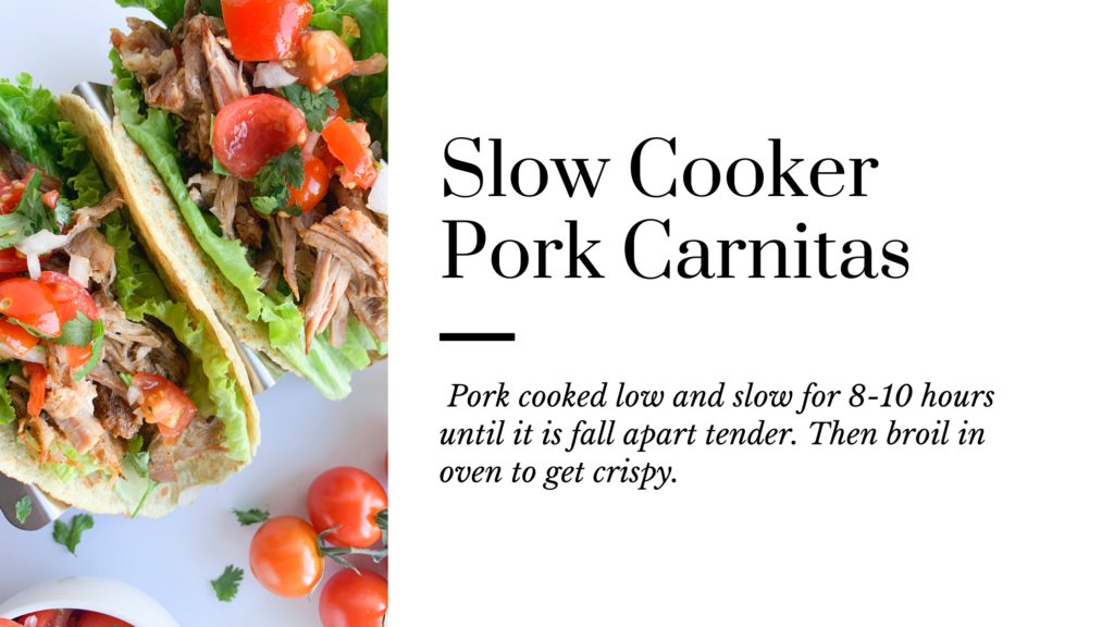 These gluten-free slow cooker pork carnitas are tender with crispy edges and are perfect for tacos.