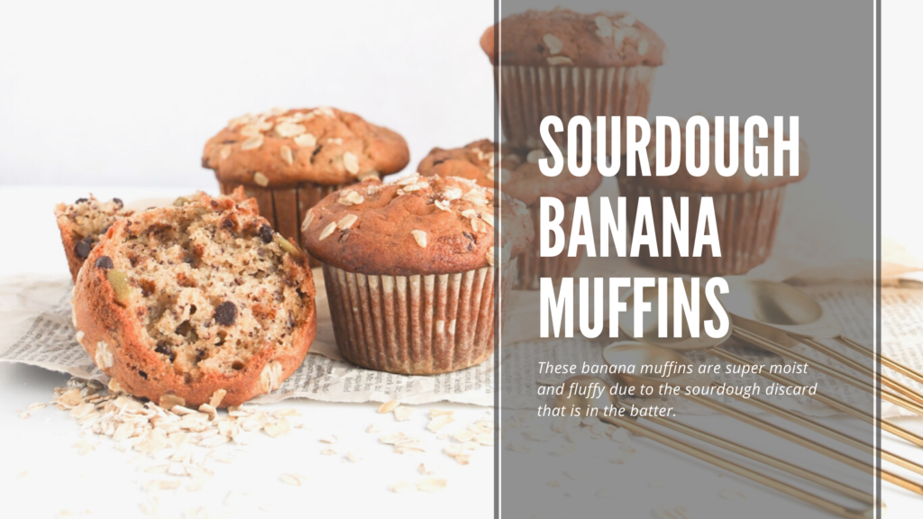 These gluten-free sourdough banana muffins are soft, fluffy and moist.