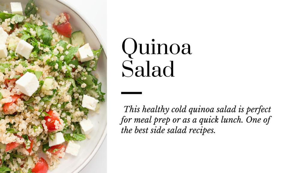 A healthy gluten-free quinoa salad with simple fresh ingredients and a bunch of fresh herbs in it.