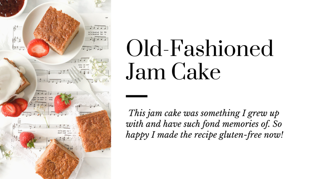 A gluten free old fashioned jam cake that is easy to make, super moist and filled with lots of raspberry jam.