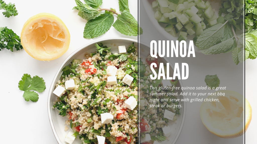 A healthy gluten-free quinoa salad made with simple fresh ingredients and a bunch of herbs.