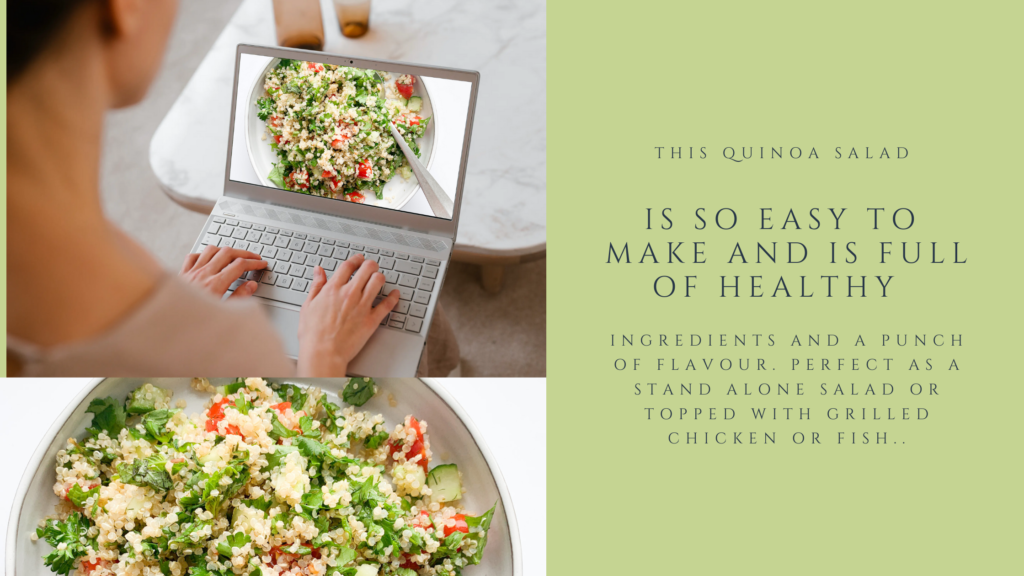 A healthy gluten-free quinoa salad that is made with simple fresh ingredients and a bunch of herbs. This healthy cold quinoa salad is perfect for meal prep.