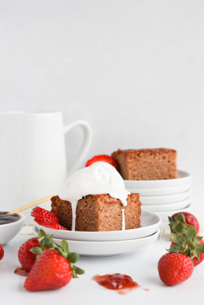 This gluten-free old fashioned jam cake is easy to make, super moist and filled with strawberry jam.