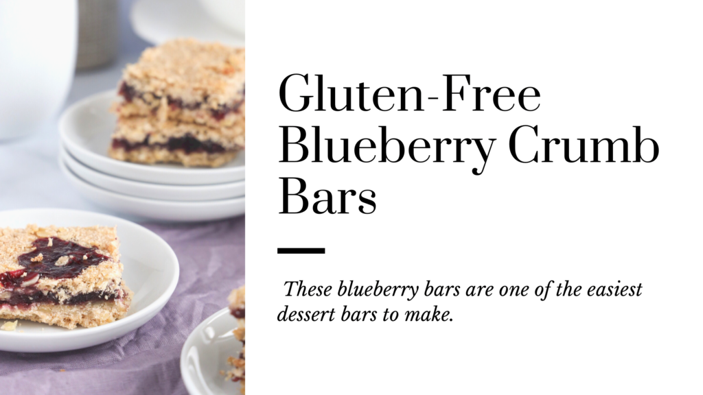 These gluten-free blueberry crumb bars are made with blueberry jam and a buttery crust and crumbly topping.