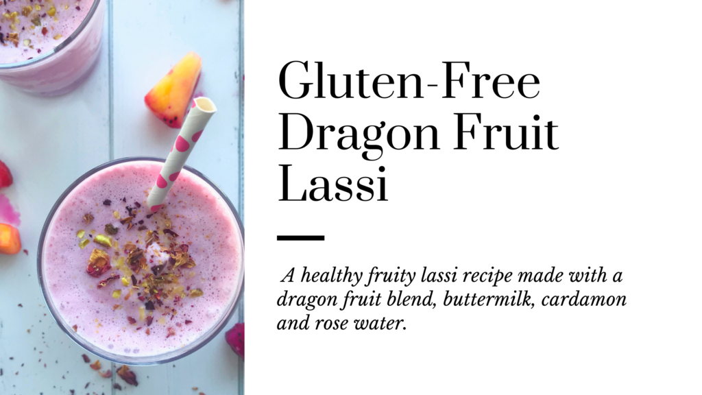 Made with just 5 ingredients this refreshing and healthy gluten-free drink is a fruity version of a traditional lassi drink.