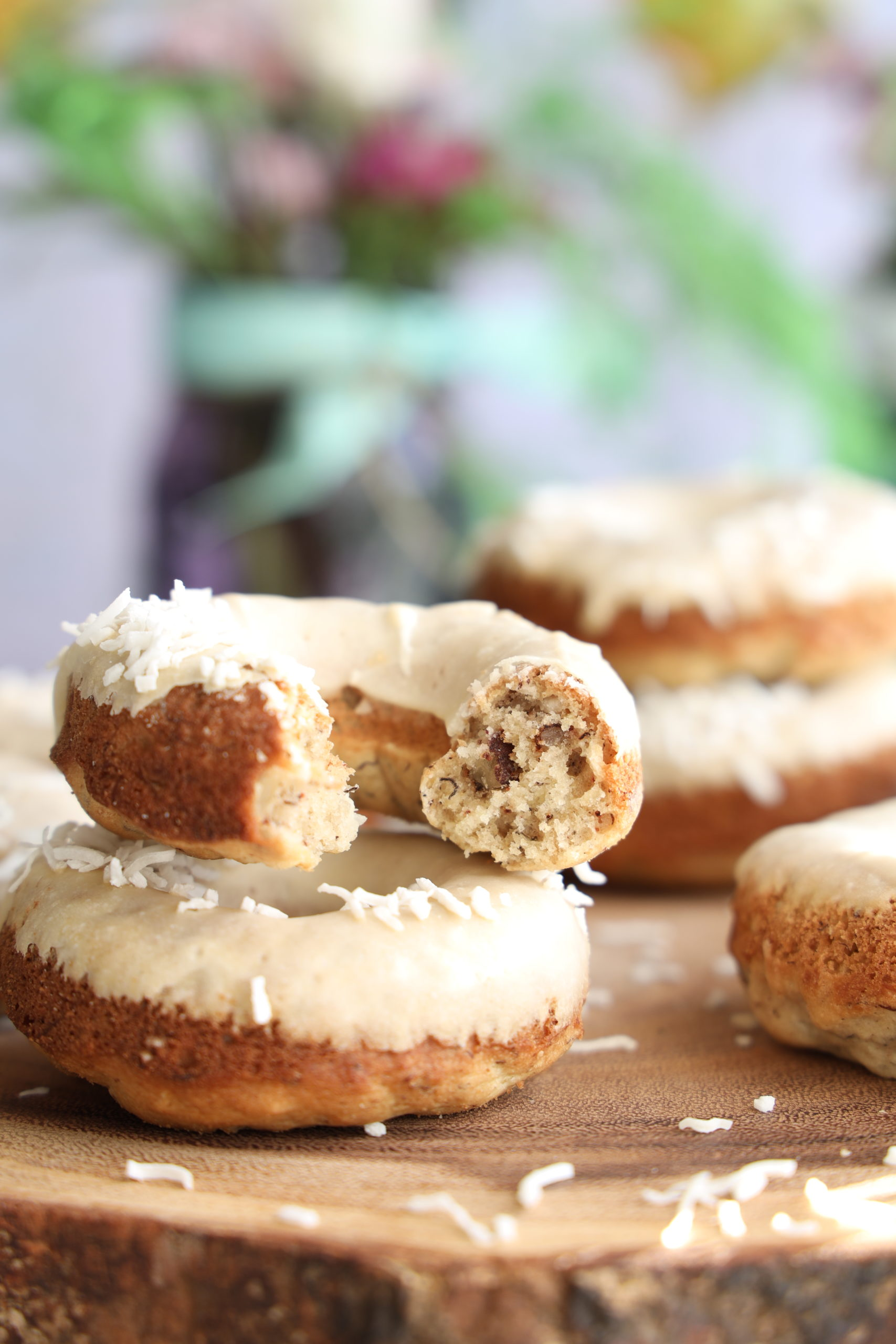A gluten-free donut inspired by the southern recipe for Hummingbird Cake. Inside the donuts are bananas, pineapple, pecans and spices.