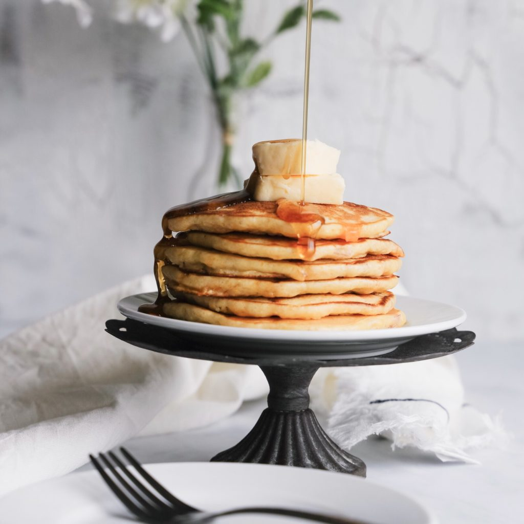 Put a breakfast spin on dinner with this tasty gluten-free corn pancake recipe. Breakfast for dinner, or bringer, is a great way to make a quick and easy weeknight dinner.