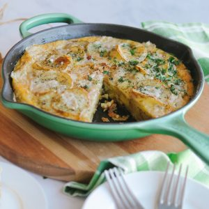Gluten-free potato frittata is basically an omelette with potato and eggs cooked gently in oil. This dish is traditionally served at room temperature and is a great meal anytime of the day.