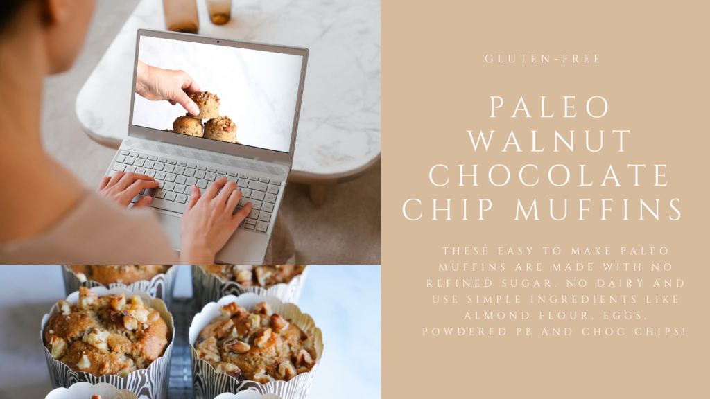 These gluten-free paleo walnut muffins are made with no refined sugar, or dairy and use simple ingredients like almond flour, eggs, powdered peanut butter and chocolate chips.