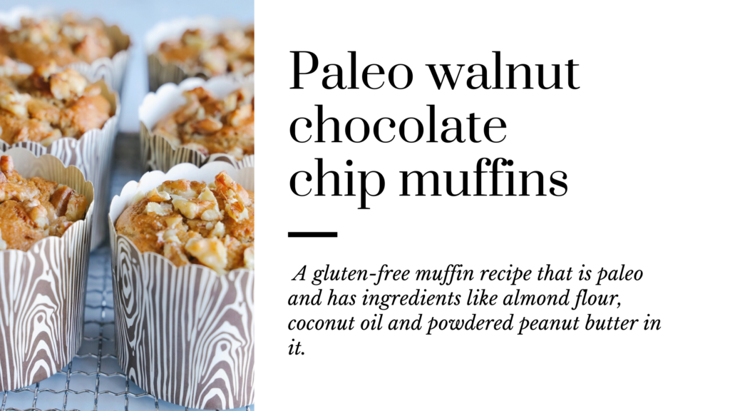 These easy to make paleo muffins are made without refined sugar, no dairy and are made with simple ingredients like almond flour, eggs, powdered peanut butter and chocolate chips.