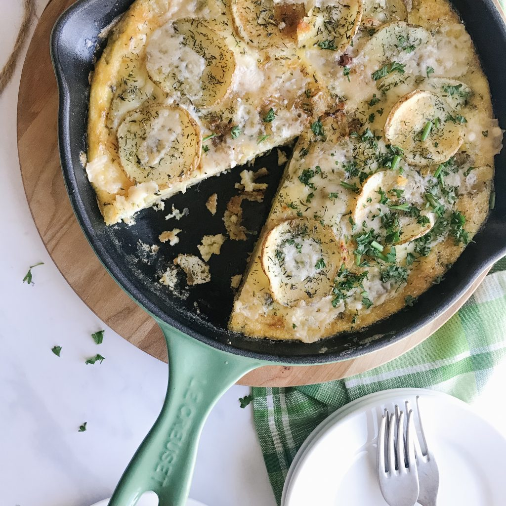 Potato Frittata is basically an omelette with potato and eggs cooked gently in oil. This dish is traditionally served at room temperature and is a great meal anytime of the day.