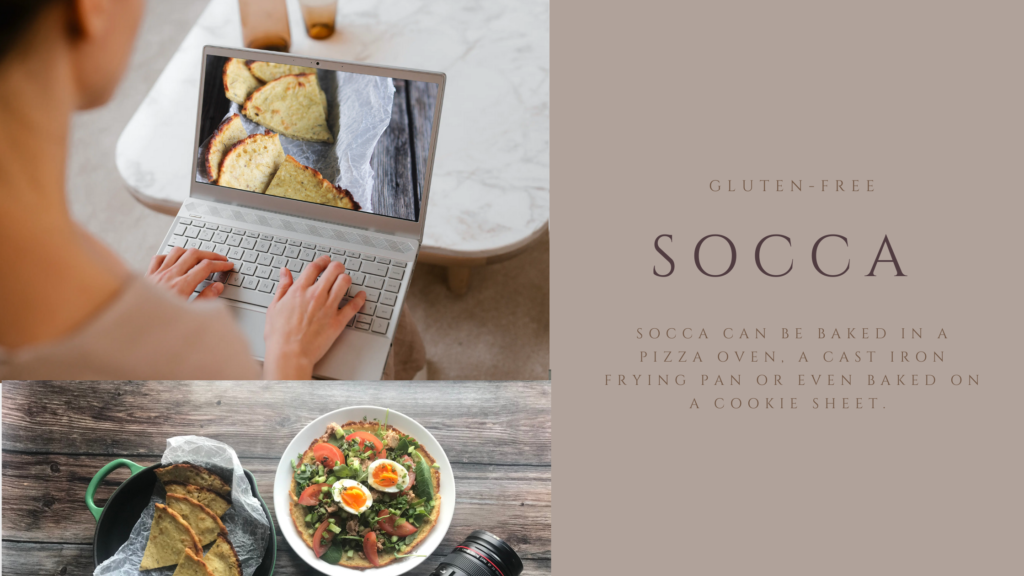 Socca or chickpea flatbread is a naturally gluten-free flatbread that you can eat warm, cut into triangles and dip into soup or stew, or as a base for toppings.
