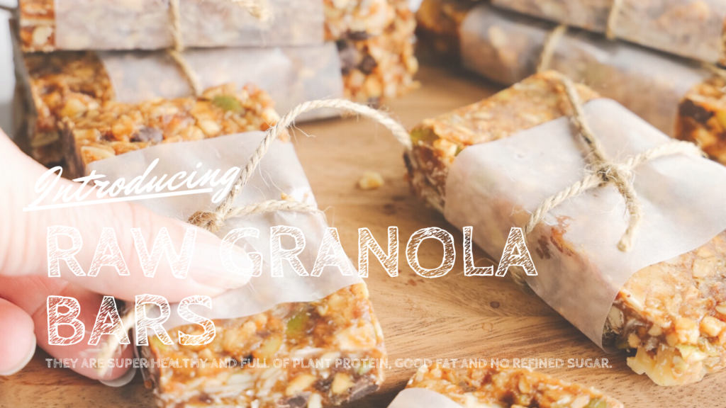 These vegan gluten-free raw granola bars are loaded with healthy ingredients like dates, pumpkin and flax seeds and almonds and walnuts.