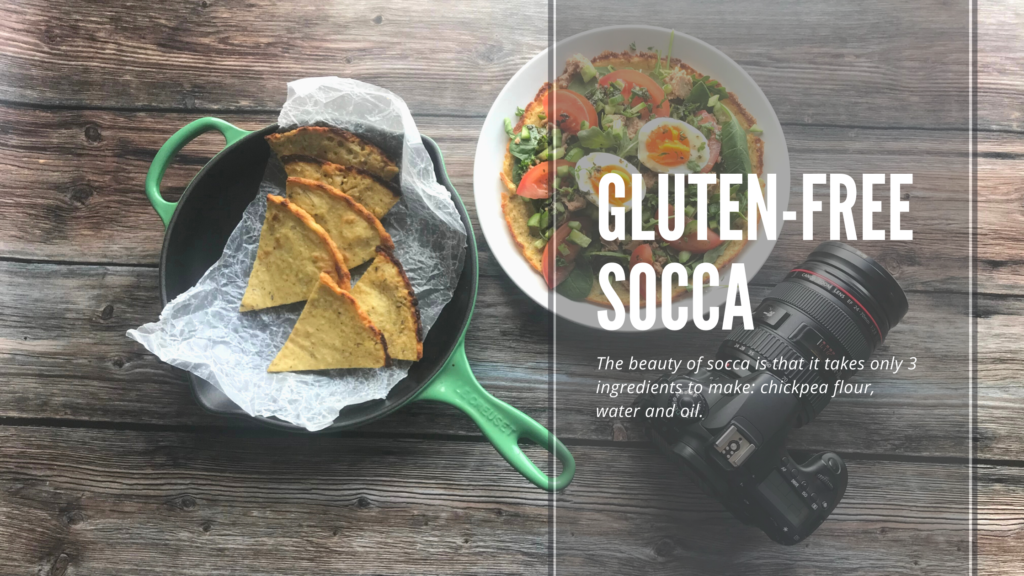Socca or chickpea flatbread is a naturally gluten-free flatbread that you can eat warm, cut into triangles and dip into soup or stew or as a base for toppings.