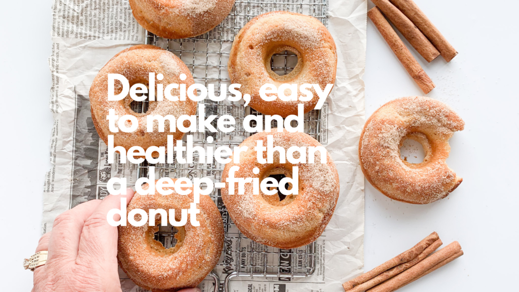 These homemade gluten-free baked donuts are soft and cakey and are dusted with a cinnamon sugar coating.