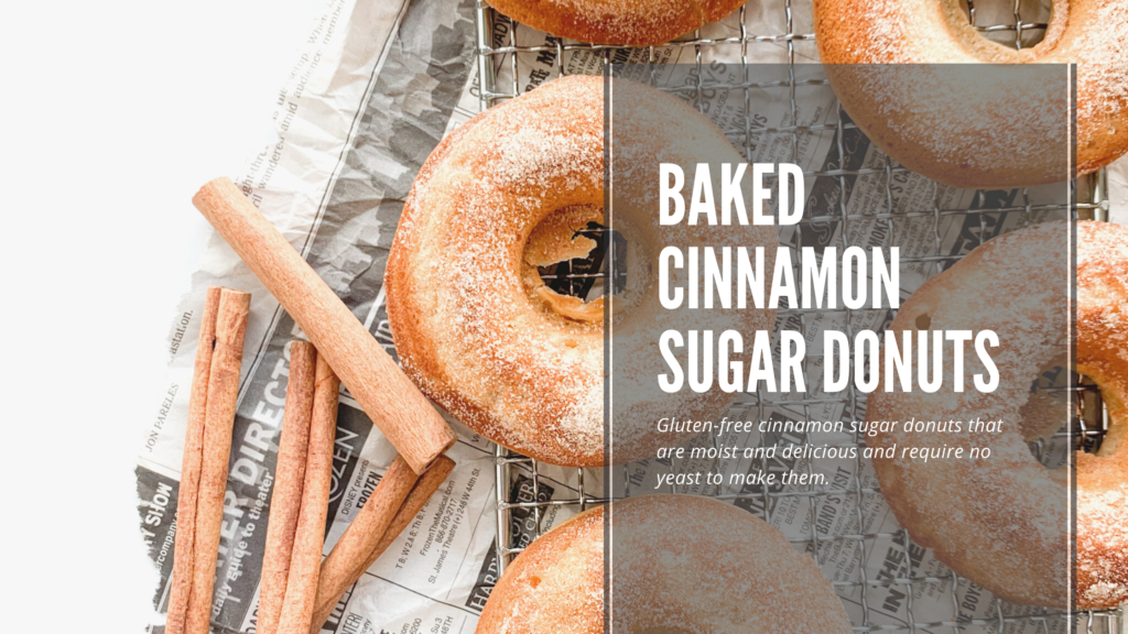 These homemade gluten-free baked donuts are soft and cakey and dusted with a cinnamon sugar coating.
